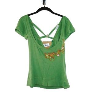 Artsy Unique Laced Back Shirt NEW Green Large